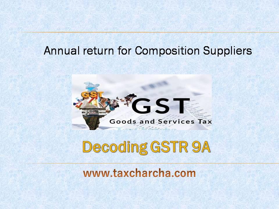 Decoding GSTR 9A - TaxCharcha